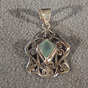 REDUCED Vintage Sterling Silver Marquise Aqua Marine Fancy Filigree Scrolled Bold Pendant Char