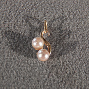 REDUCED Vintage 14 K Yellow Gold 2 Round Cultured Pearl Fancy  Swirled Pendant Charm