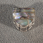 REDUCED Vintage Sterling Silver  Bold Abalone Trinket Pill Box