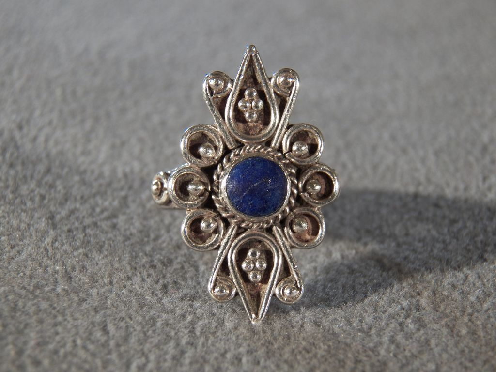 Vintage Sterling Silver Round Lapis Fancy Filigree Etched Scrolled Bold Band Ring, Size 7.5