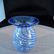 SALE Vintage Bimini Austria Unique  Blue Swirled Art Glass Vase MINT