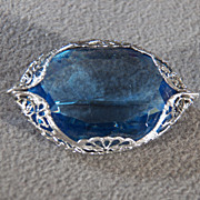 SALE Vintage Silver Plated Large Oval Faceted Royal Blue Glass stone Fancy Filigree Scrolled E