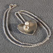 SALE Vintage Sterling Silver Large Heart Design Round Cultured Pearl Pendant Charm Necklace Ch