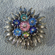SALE Vintage Silver Tone bold pin brooch multi color  aurora rhinestone Pin Brooch      W