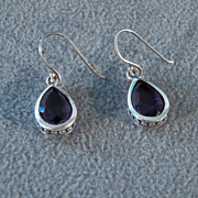 SALE Vintage Sterling Silver  2  Pear African Amethyst  Dangle Fancy Euro Wire Pierced Earring