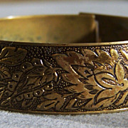 SALE Vintage classic  Brass Fancy  Etched Floral  Wide Bangle Bracelet    W