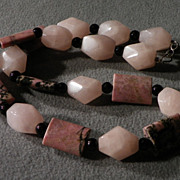 "SALE Vintage  pink quartz  black onyx agate bold  fancy  bead tennis 18.5 ""  necklace"