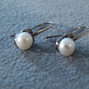 SALE Vintage Sterling Silver Round Cultured Pearl  Euro Wire Dangle Pierced Earrings