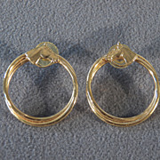 SALE Vintage  Yellow Gold Tone Horse Equestrian Double Circle Long Dangle Pierced Earrings