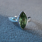 SALE Vintage Sterling Silver Marquise Peridot Fancy Band Ring, Size 8