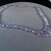 SALE Vintage Sterling Silver Combination Glass Bead Amethyst Fancy  Bib Lavaliere Necklace