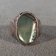 SALE Vintage Sterling Silver Large Oval Abalone Extra Wide Man Women's Southwestern Style Band
