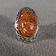 SALE Vintage Sterling Silver Large Oval Amber Wide Fancy Scrolled Filigree  Band Ring, Size 6