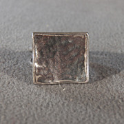 SALE Vintage Sterling Silver Square Fancy Pounded Large Band Ring, Size 9