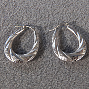 SALE Vintage 14 K  White Gold Fancy Scrolled Etched Pierced Hoop Earrings