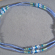 "SALE Vintage shades  of Royal Blue Glass  Bead 49""  necklace    **** W"