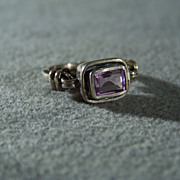 SALE Vintage Sterling Silver rectangle Amethyst bold Band ring, size 6       W