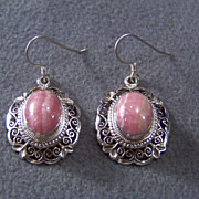 SALE Vintage Sterling Silver etched  Fancy filigree 2 Oval pink  agate dangle  Euro Wire Pierc