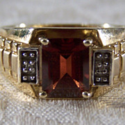 SALE Vintage 10 k  Yellow Gold Rectangle Rhodolite Garnet 2 Round Diamond Band ring, size 10.5