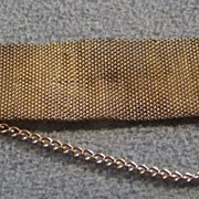 SALE Vintage  12 K Gold Filled  etch  fob pendant bold  watch  woven chain