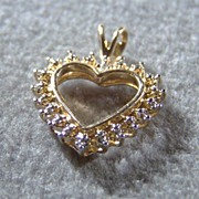 SALE Vintage Sterling silver  gold diamond large heart  pendant charm