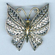 Brooch Butterfly Avon Signed Filigree