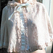 Lingerie Jacket Odette Barsa Vintage Bed Peach and Blue 1950s