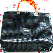 SALE Vintage Purse Mesh Navy Blue Euro