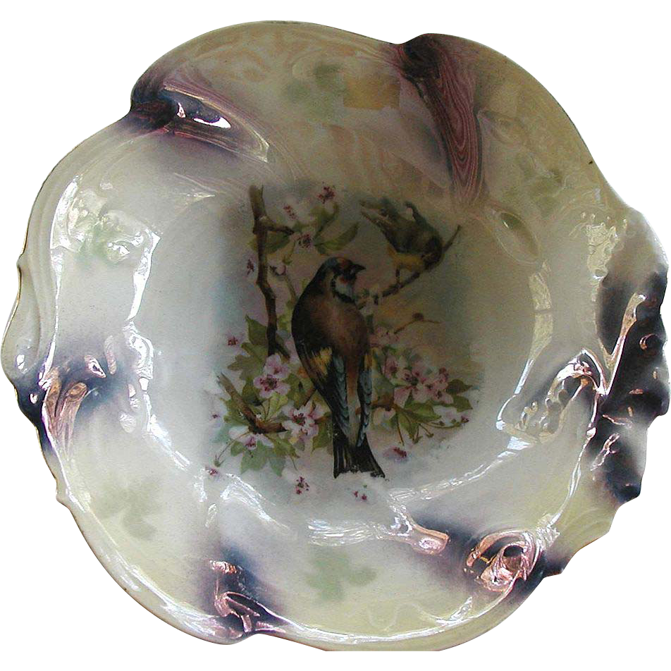 Antique Bowl Lustre Birds Germany Bavarian Purple