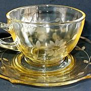 Lancaster Jubilee Yellow Cup and Saucer Depression