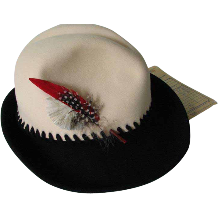 Hat Mr.John Fedora  Ila Lowe Felt 1970s  Box Feather
