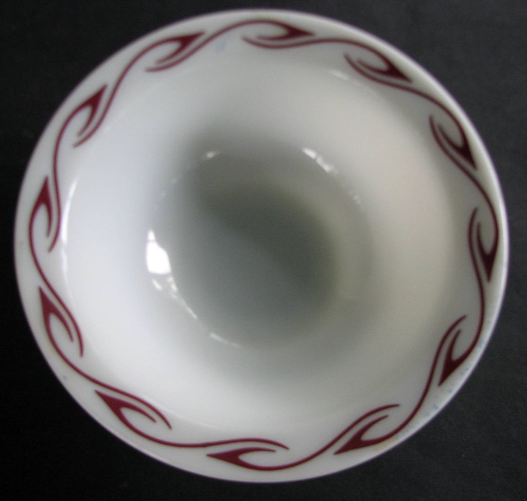 Bowl Corning Milk Glass Red Horn Blower Airbrush