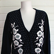 Sweater Cardigan Beaded Embroidered Blue Ron Cuan
