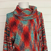 Sweater 1970s Cowl Slouchy Dolman Sleeves Multi EV Ltd.