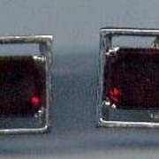Cufflinks Mad Men Red Glass Silvertone