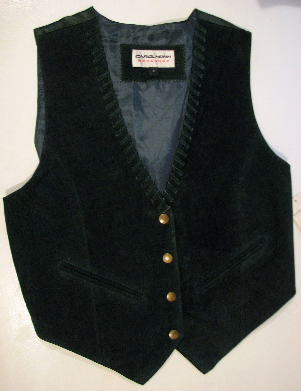 Vest Green Leather Carol Horn Vintage Tags Deadstock