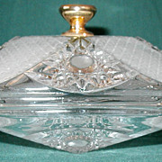 Vintage Vanity Glass Box Satin Hobstar