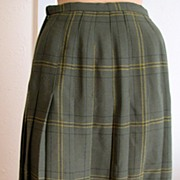 Skirt Plaid Norman Martin Green Vintage England