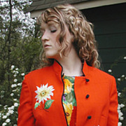 Lilli Ann Jacket Bird Embroidered Orange