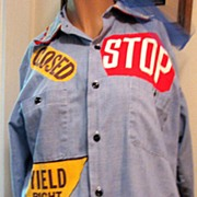 Costume Blouse Clown Circus Road Signs Blue 1970s