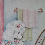 Vintage Poodle Picture Framed MidCentury