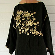 Caftan Black Gold Lounge Embroidered 1970s