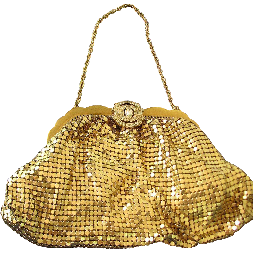 Whiting Davis Purse Goldtone Mesh Evening Rhinestone Clasp