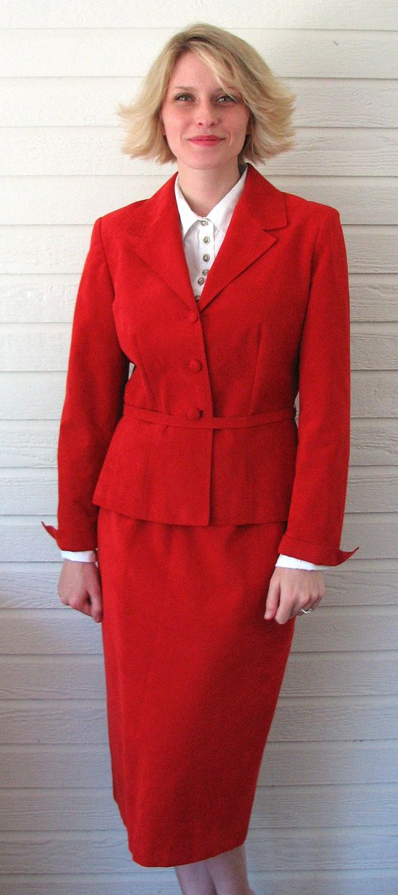 Vintage Lilli Ann Suit Adolph Schuman Red UltraSuede 1970s from gracefulantiques on Ruby Lane