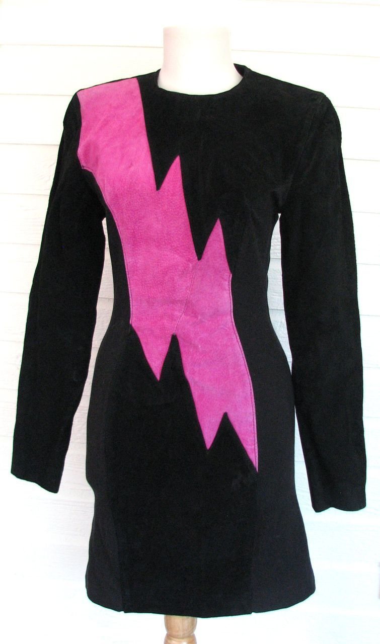 Vintage Dress Wilson 1980s Lightning Bolt Leather Suede from gracefulantiques on Ruby Lane