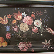 Tray Tin Floral Black Metal Serving