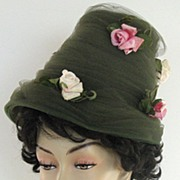 SALE Hat Henry Margu Vintage Roses Green Tall 1950s