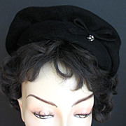 Hat Neumann Endler Fairfield Felt Black Rhinestones Beret