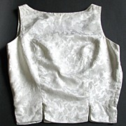 Blouse White Brocade Top Shell Mad Men