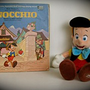 Doll Pinocchio and Vintage Record Storybook 1969